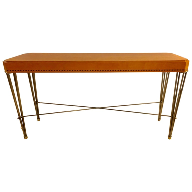 American Hollywood Regency Maple Console or Sofa Table with Wrought Iron Base