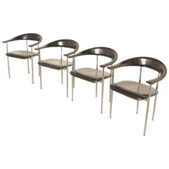 Set of Four P-40 Chairs by Giancarlo Vegni & Gianfranco Gualtierotti for Fasem