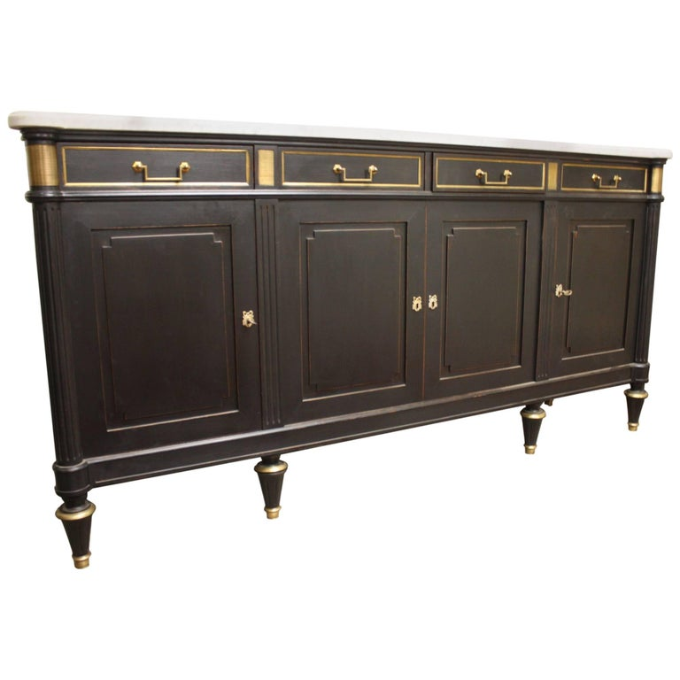 Louis XVI Ebonized French Buffet with Marble Top 1