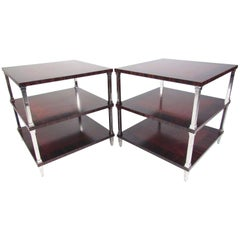 Pair of Regency Style Two-Tier End Tables