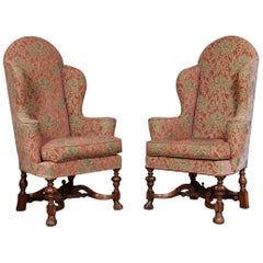 Pair of Walnut Framed Carolean Style Wing Armchairs