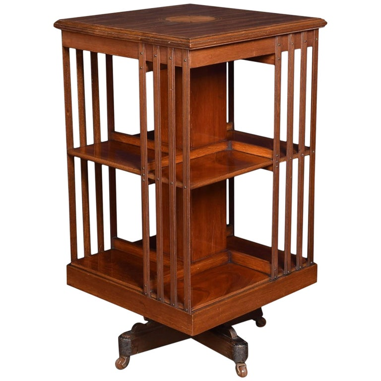 Edwardian Mahogany Inlaid Revolving Bookcase
