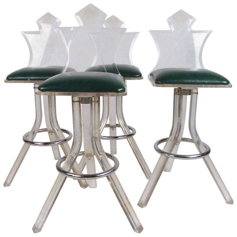 Set of Vintage Modern Lucite Barstools