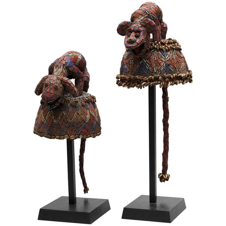 Two Beaded Royal Headdresses, Cameroon Grasslands