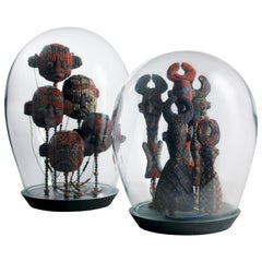Two Handblown Glass Domes with Fine Beaded Regalia, Cameroon Grasslands