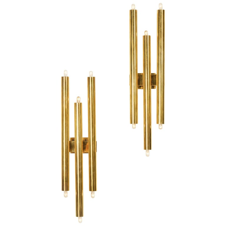 Gio Ponti Tubular Brass Sconces, Italy, 1960s 1