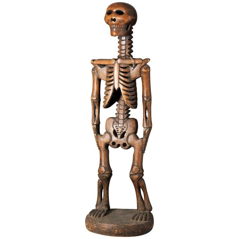 Wooden  Mexican Dia de los Muertos Skeleton Sculpture in Standing Position