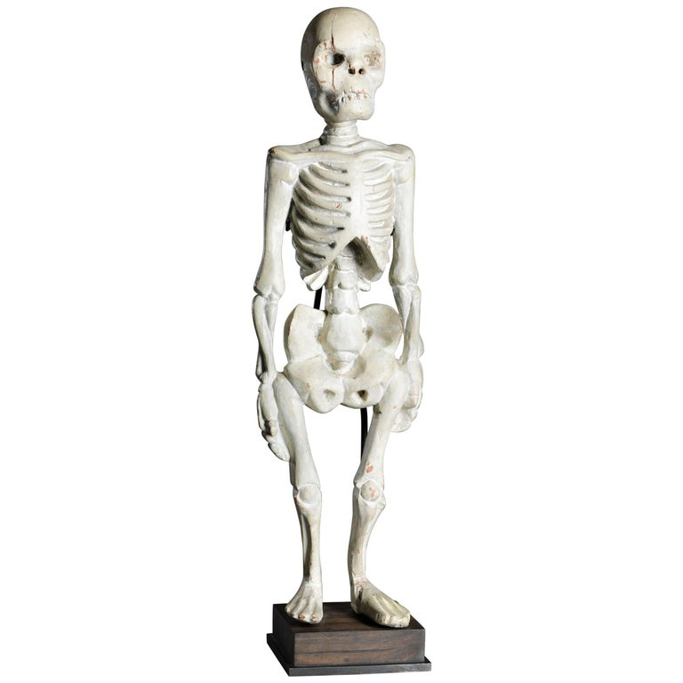 Wooden Asian Memento Mori Skeleton Sculpture in Standing Position