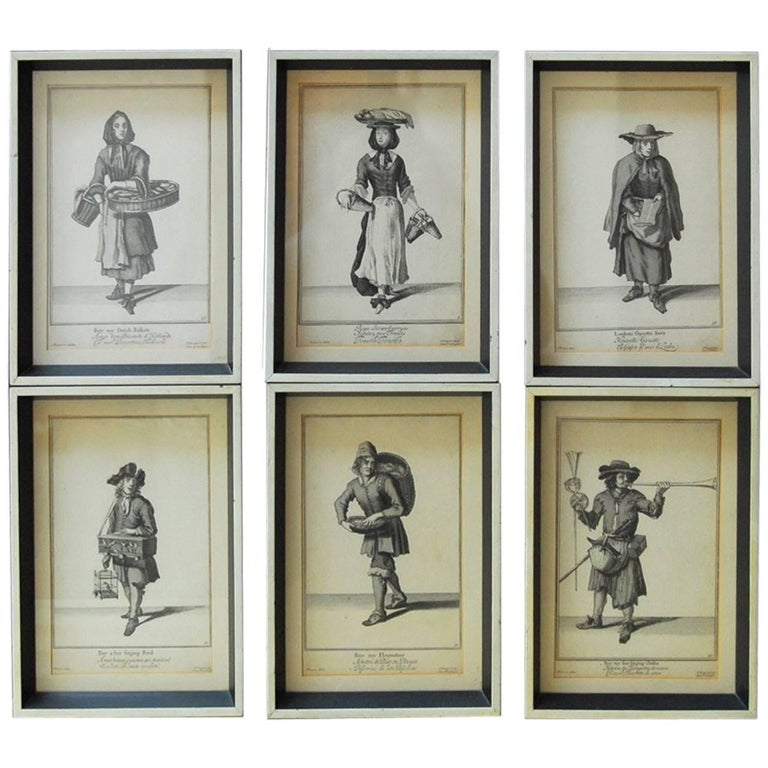 Set of Six Framed Engravings Cries of London, 1688 For Sale
