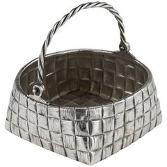 Antique Russian Trompe L'oeil Solid Silver Basket, St-Petersburg, circa 1900