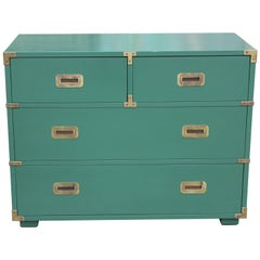 Modern Green Lacquered Henredon Four-Drawer Chest of Drawers with Brass Hardware