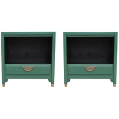 Pair of Modern Green Lacquered Century Furniture Nightstands with Brass Hardware