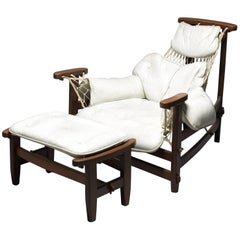 Vintage Brazilian White Armchair and Ottoman, Jangada, 1968, Jean Gillon