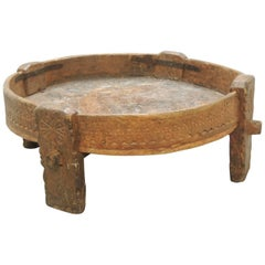 Moroccan Carved Wood Primitive Vintage Coffee Table