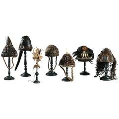 Collection of Seven Fine Decorative Ceremonial Hats, DRC, Lega