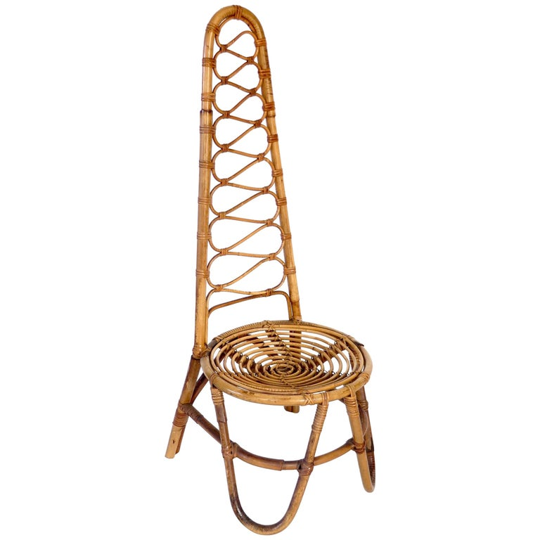 French Riviera Rattan Bamboo Single Chair, circa 1960 For Sale