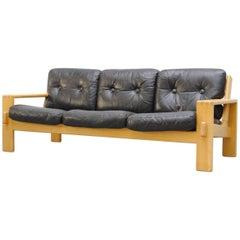 "Finnish ""Bonanza"" Wood and Leather Sofa 'Part of Set'"