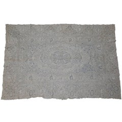 Large Antique Handmade Belgian Zele Figural Needle Lace Table Cloth, 19th C