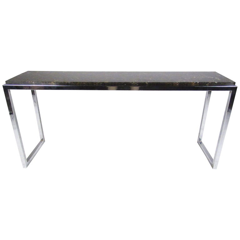 Stylish Modern Marble and Chrome Console Table