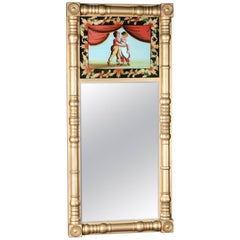 Antique Giltwood and Églomisé Panel Federal Style Mirror, 20th Century