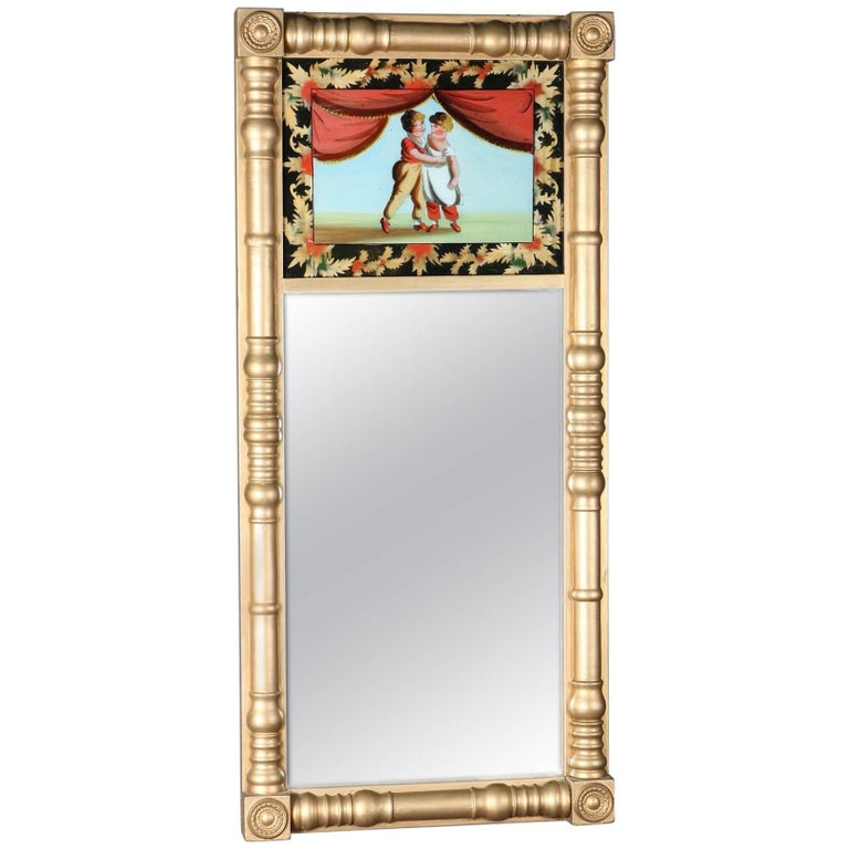 Antique Giltwood and Églomisé Panel Federal Style Mirror, 20th Century For Sale