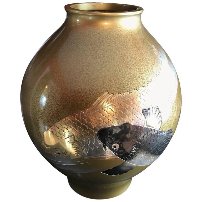 """Brilliant Japanese """"Double Koi"""" Hand Cast Bronze Vase Mint, Signed and Boxed"""