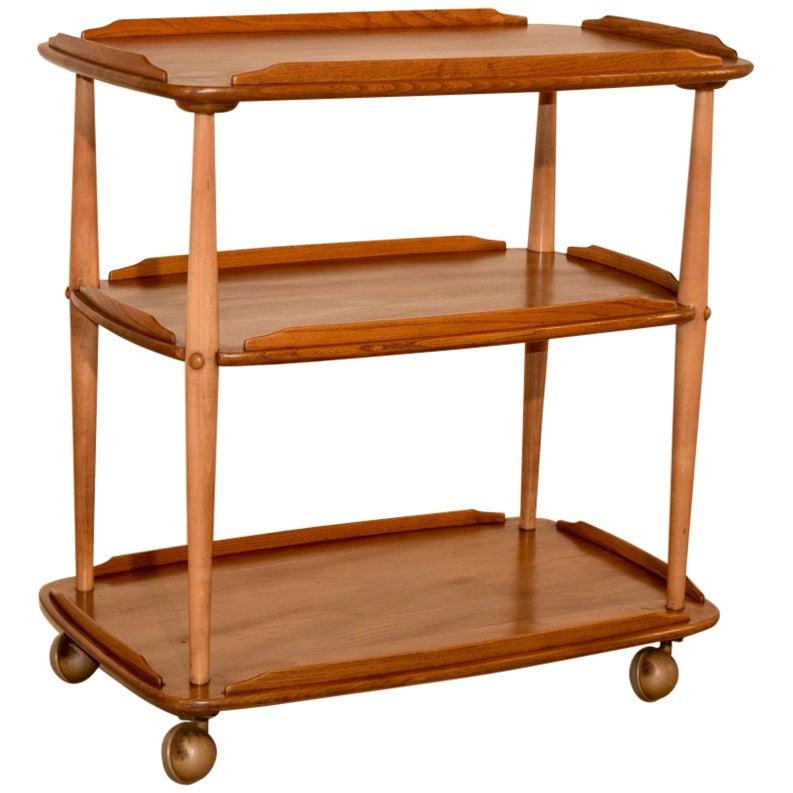 Mid-Century Elm Bar Cart