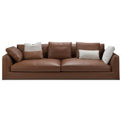 Brown Leather Sofa with Cushions by B&B Italia