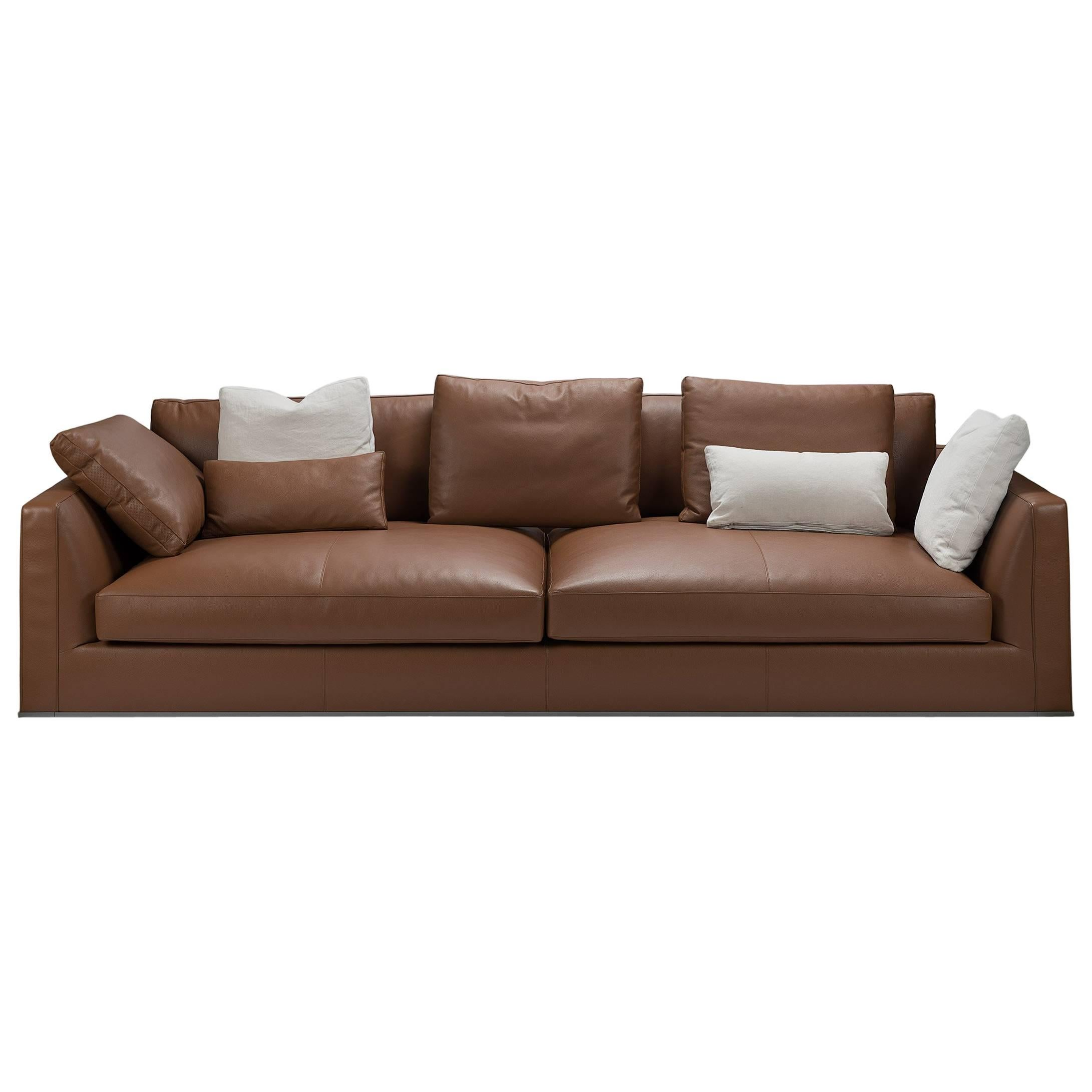 Captivating Brown Leather Sofa With Cushions By Bu0026B Italia For Sale