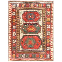 Antique Tribal Caucasian Kazak Rug. Size: 5 ft x 6 ft (1.52 m x 1.83 m)