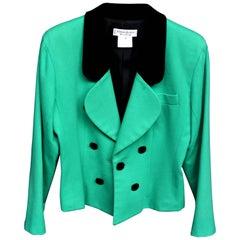 Yves Saint Laurent 100% Wool Woman Jacket Tag Size 42