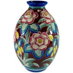 Large Art Deco Boch Freres Keramis Vase