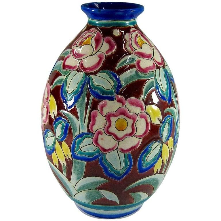 Large Art Deco Boch Freres Keramis Vase For Sale