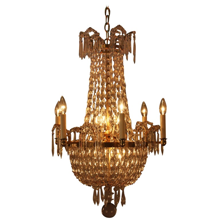Swedish Late 19th Century Crystal Chandelier