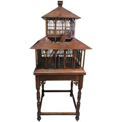 Carved Mahogany Grand Antebellum Style Bird House on Stand