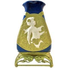 Antique Paul Louchet French Porcelain Vase with Gilt Bronze Base