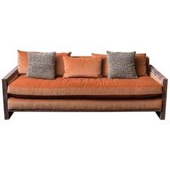 Swaim Custom Contemporary Mohair Sofa in Burnt Orange