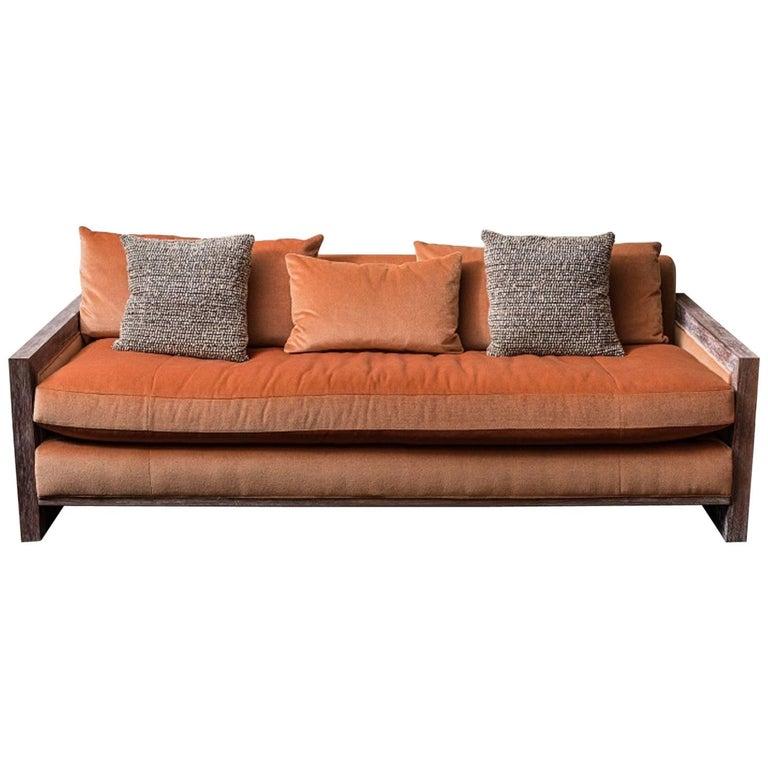 Swaim Custom Contemporary Mohair Sofa In Burnt Orange For