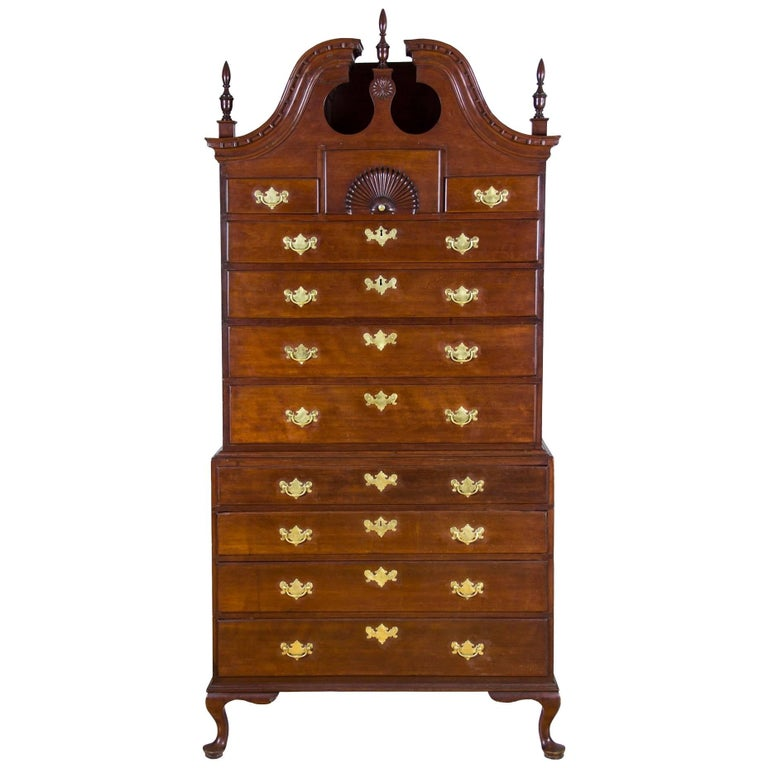 Chippendale Bonnet Top Chest-on-Chest, Cherrywood, Wethersfield, CT For Sale