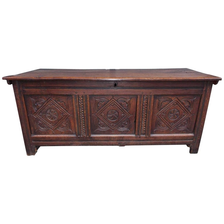 English Oak Jacobean Decorative Carved Three-Panel Hinged Coffer, Circa 1720