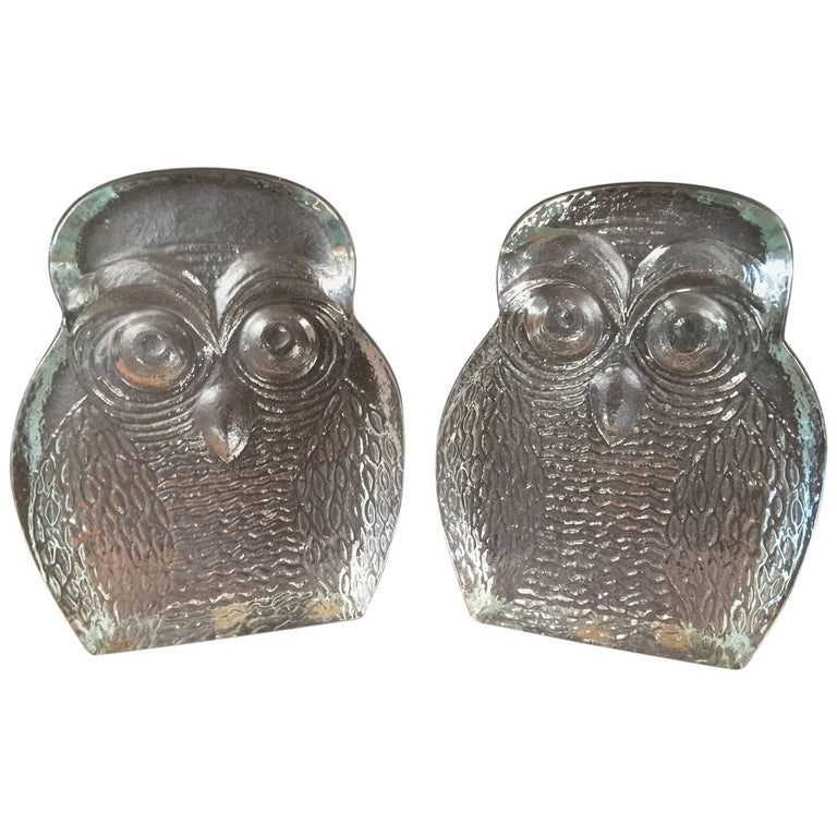 Pair of Midcentury Glass Owl Bookends by Blenko For Sale