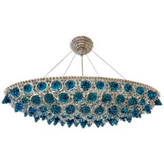 Contemporary Italian Turquoise Blue & Clear Glass Oval Silver Flush/Chandelier