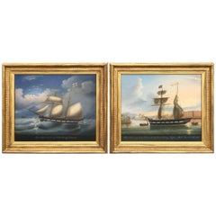 Impressive Pair of English Naive School Nautical Paintings