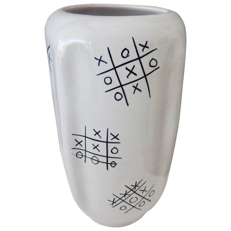 "Modern Ed Langbein Ceramic ""Tic-Tac Toe"" Vase, 1940s For Sale"