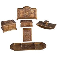 Six-Piece Arts & Crafts Tiffany School Bronzed Desk Set, 19th Century