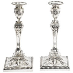 Antique Pair of Edwardian Sterling Silver Candlesticks, 1907