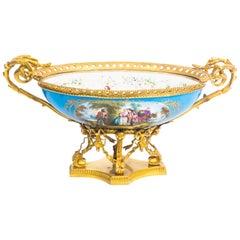 Ormolu-Mounted Bleu Celeste Sevres Porcelain Centrepiece, 19th Century