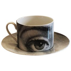 Midcentury 1960s Fornasetti Cup and Saucera