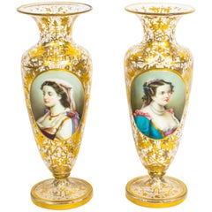 Pair of Bohemian Opaline Flashed Gilded Crystal Portrait Vases, 19th Century