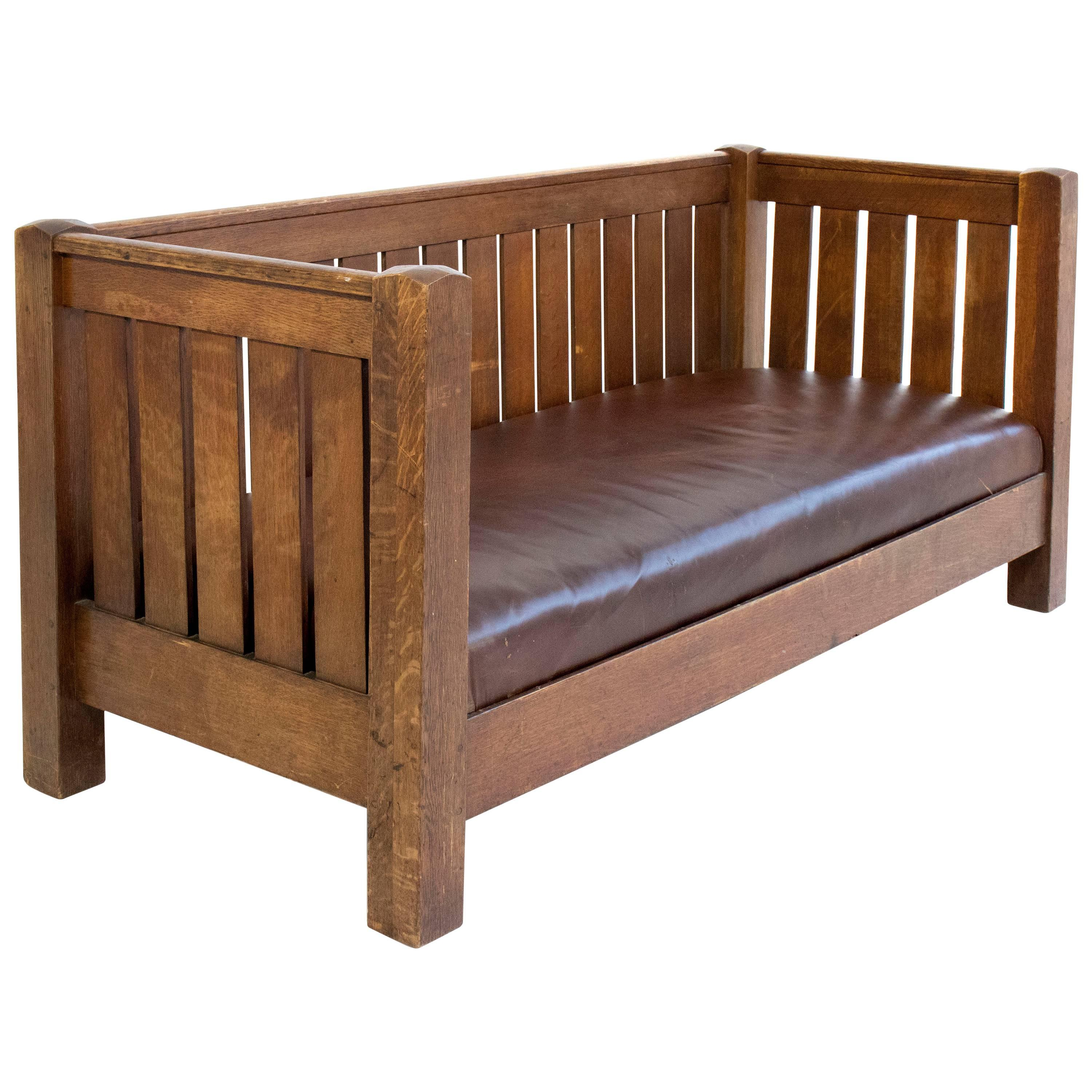 Large And Rare Mission Oak Sofa Bench By Gustav Stickley, Circa 1910, USA  For